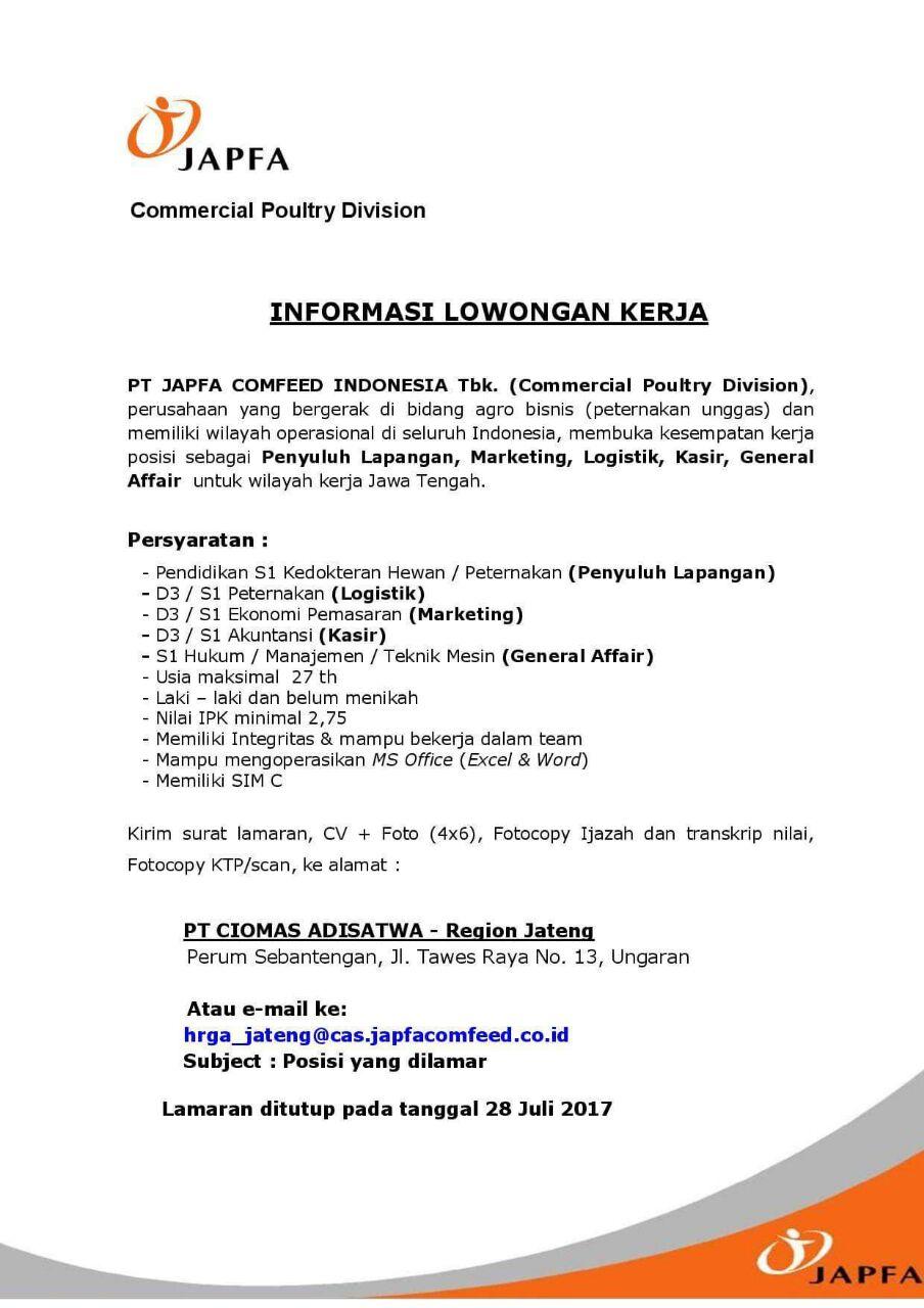 Informasi Lowongan Kerja Pt Japfa Comfeed Indonesia Fakultas