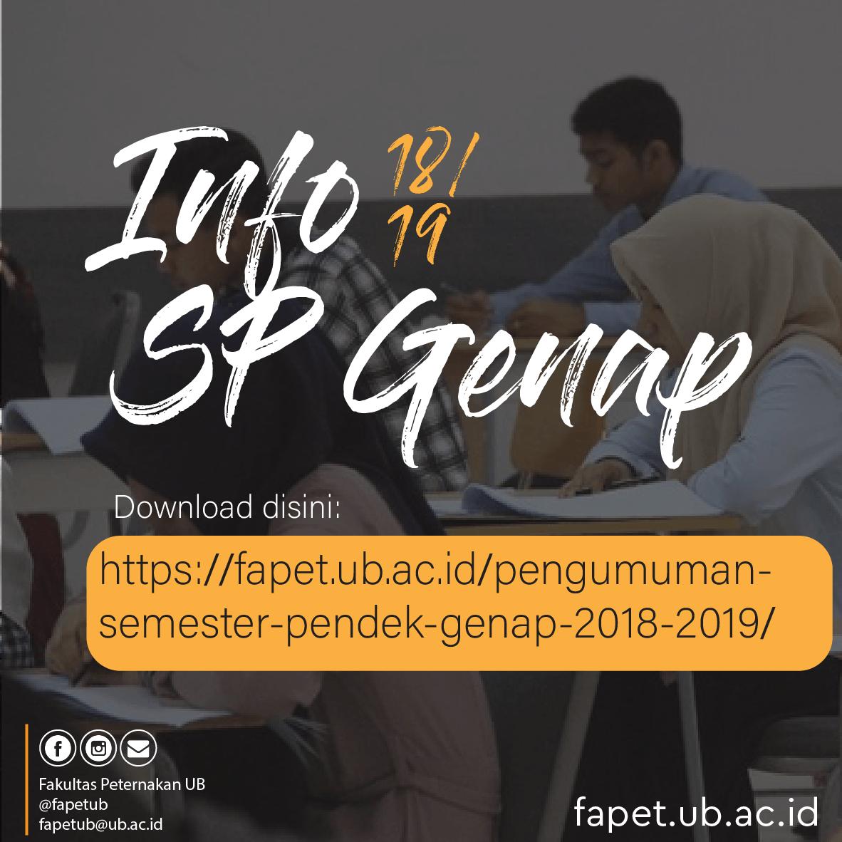 Pengumuman Semester Pendek Genap 2018/2019