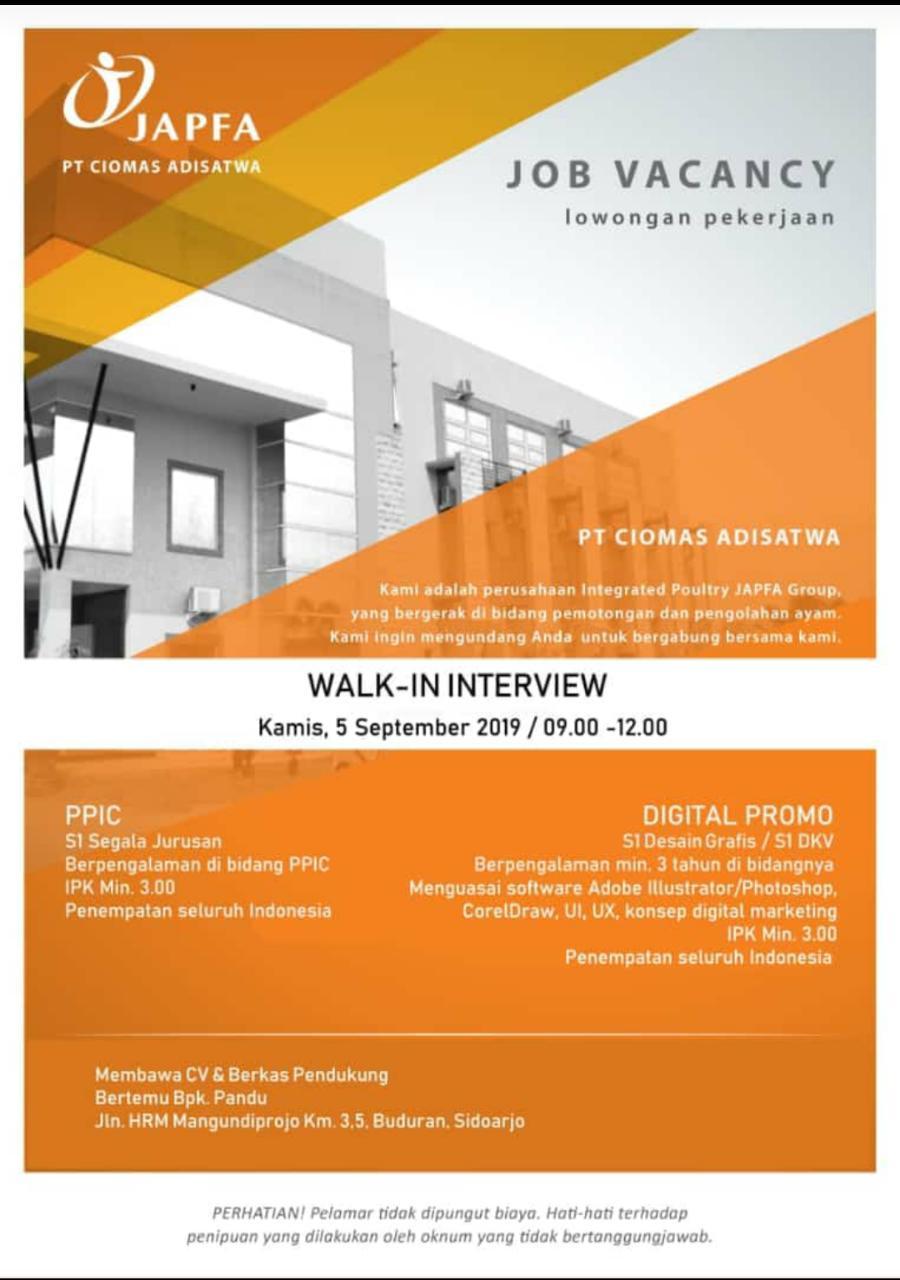 Walk in Interview PT Ciomas