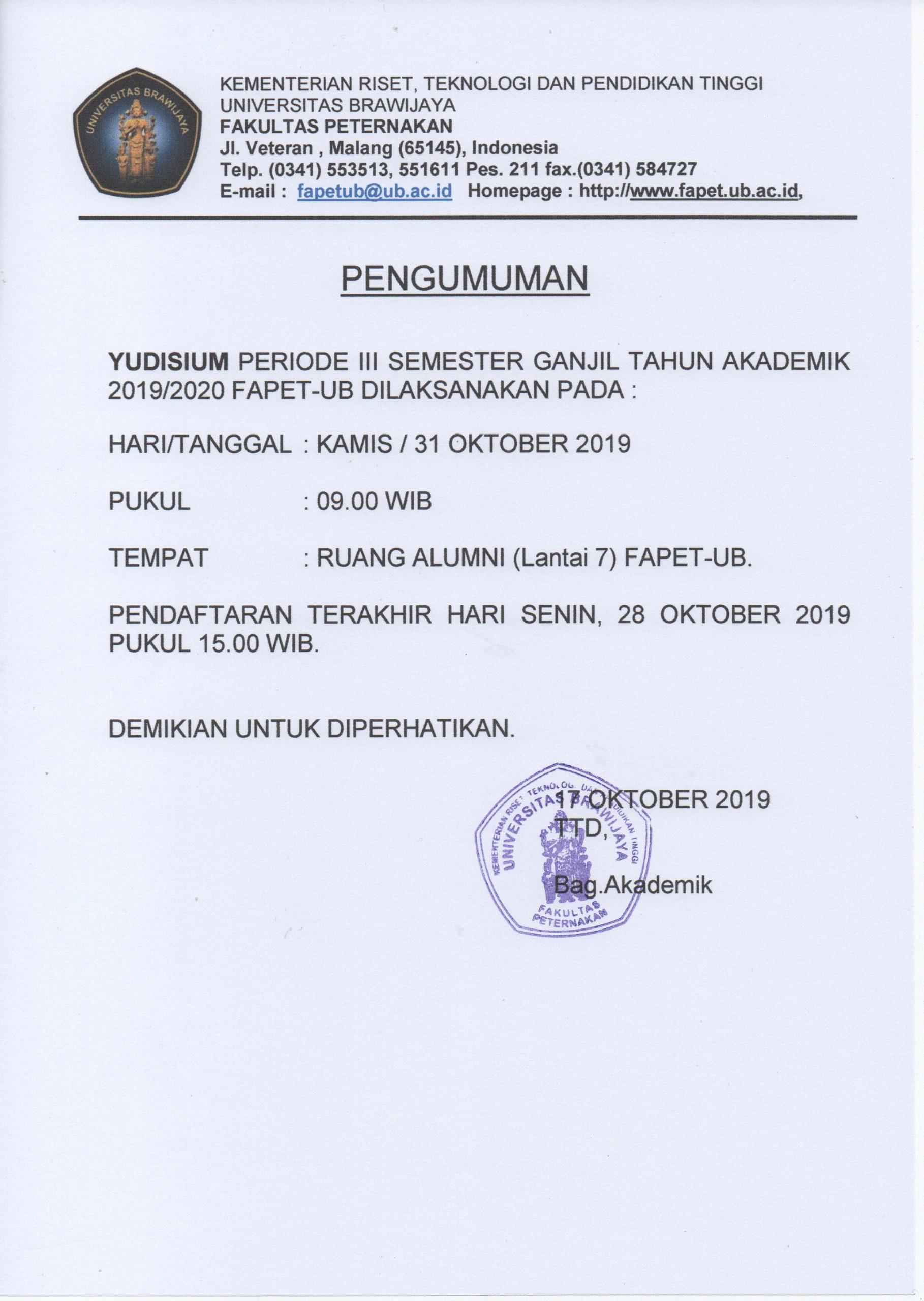 Pengumuman Pendaftaran Yudisium Periode Oktober 2019