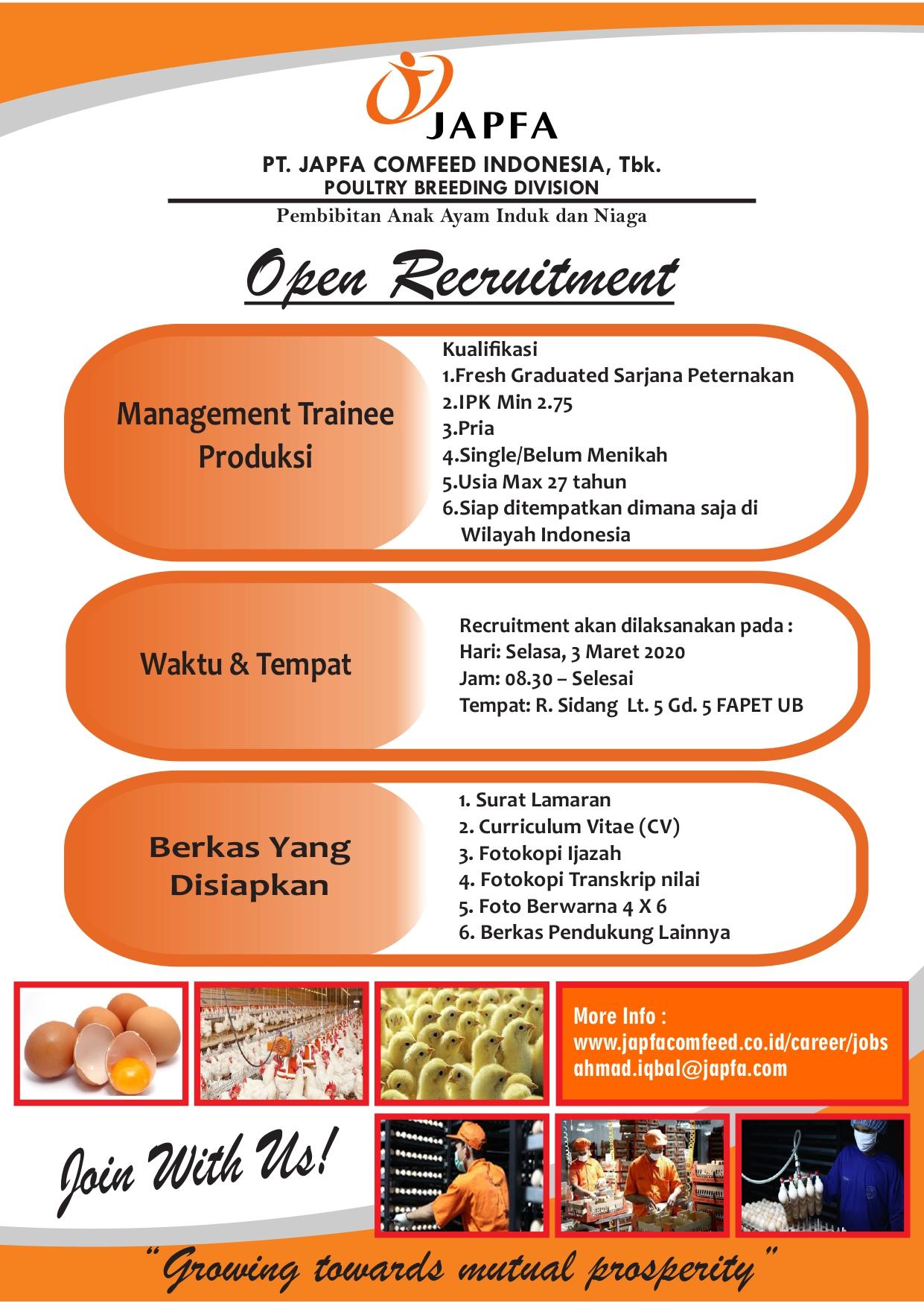 Lowongan Kerja PT. Japfa Comfeed Indonesia, Tbk