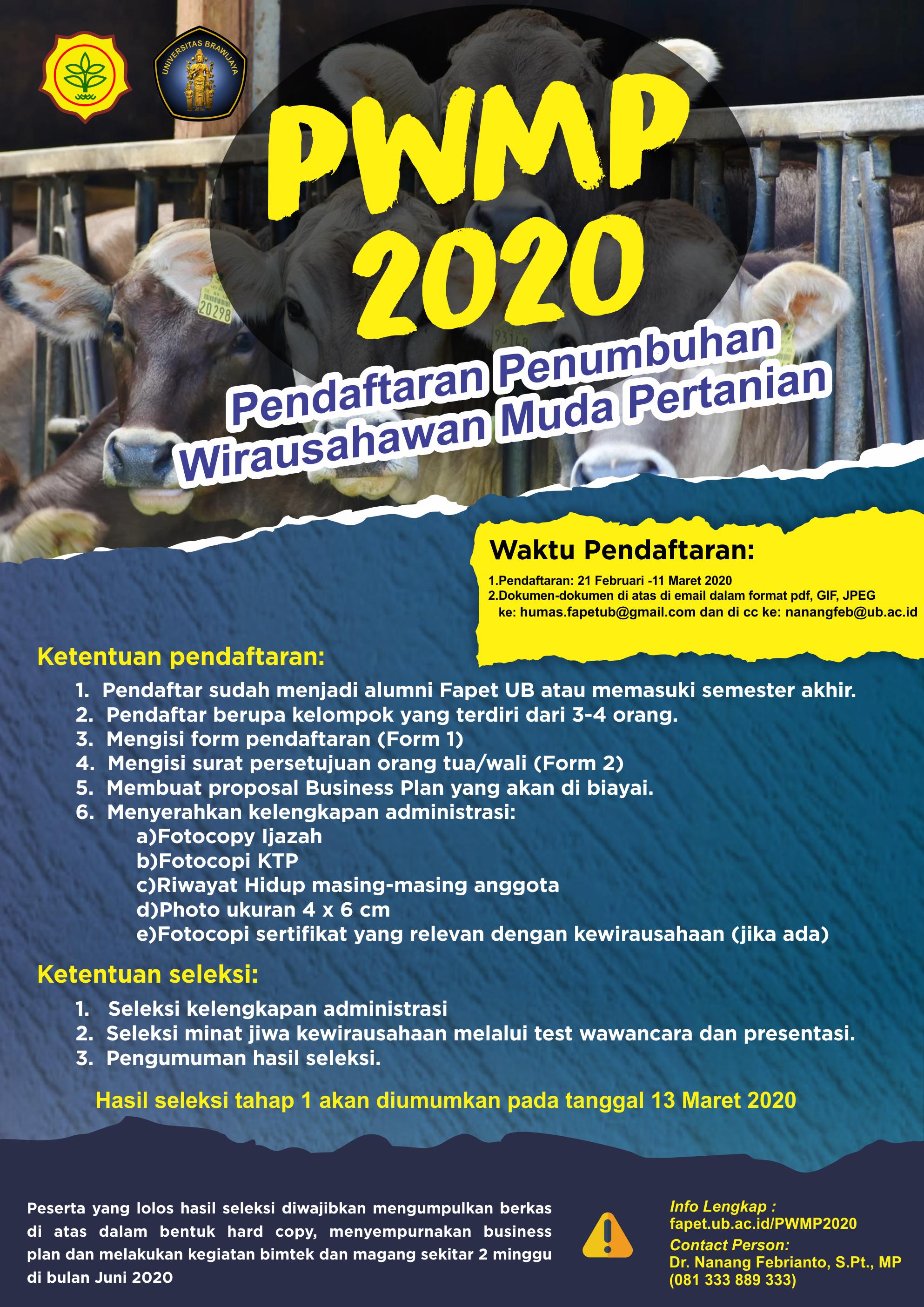 Pendaftaran Penumbuhan Wirausahawan Muda Pertanian (PWMP) 2020