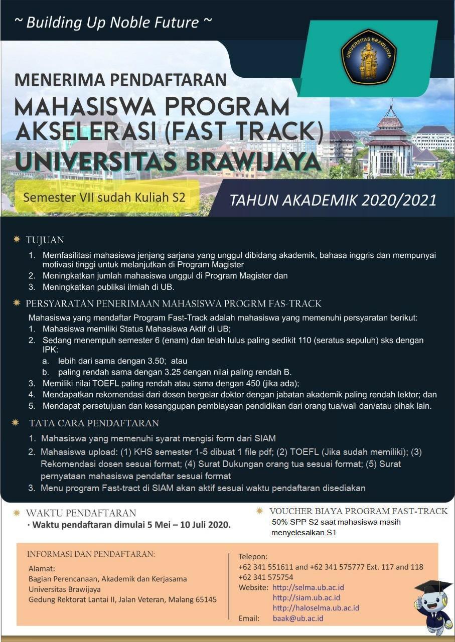Menerima Pendaftaran Mahasiswa Program Akselerasi (Fast Track) Universitas Brawijaya