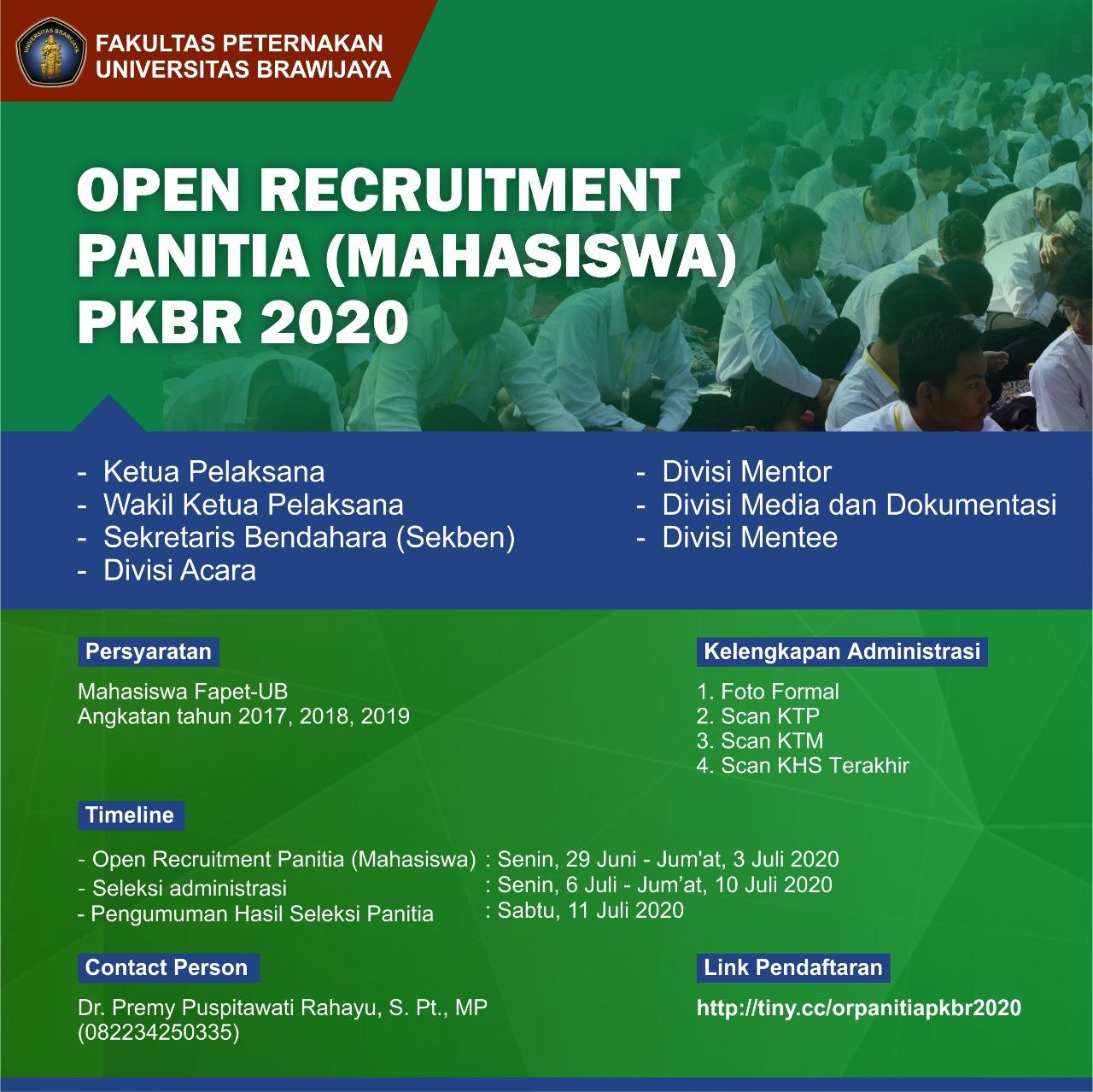 Open Recruitment Panitia (Mahasiswa) PKBR 2020