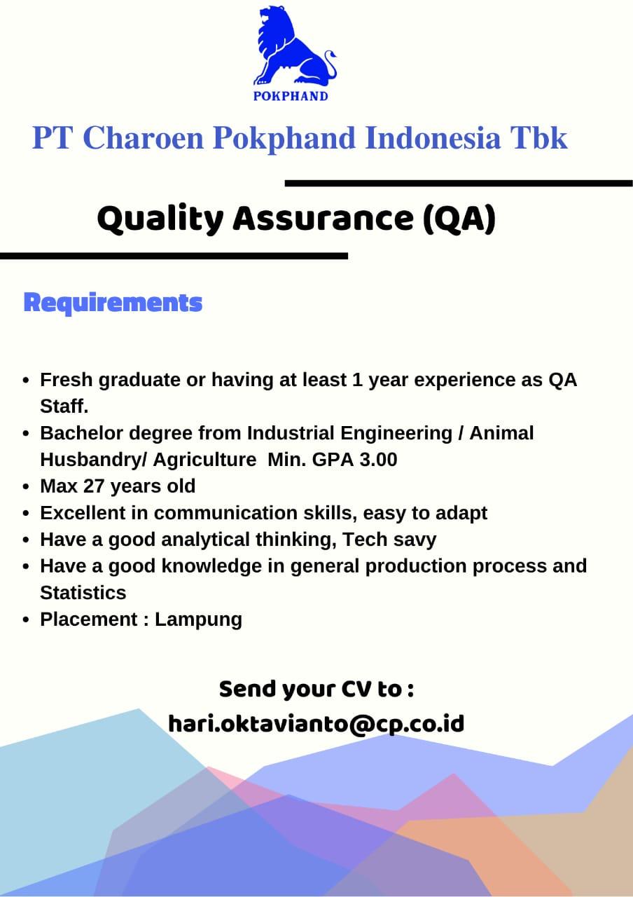 Lowongan Kerja PT Charoen Pokphand Indonesia, Tbk