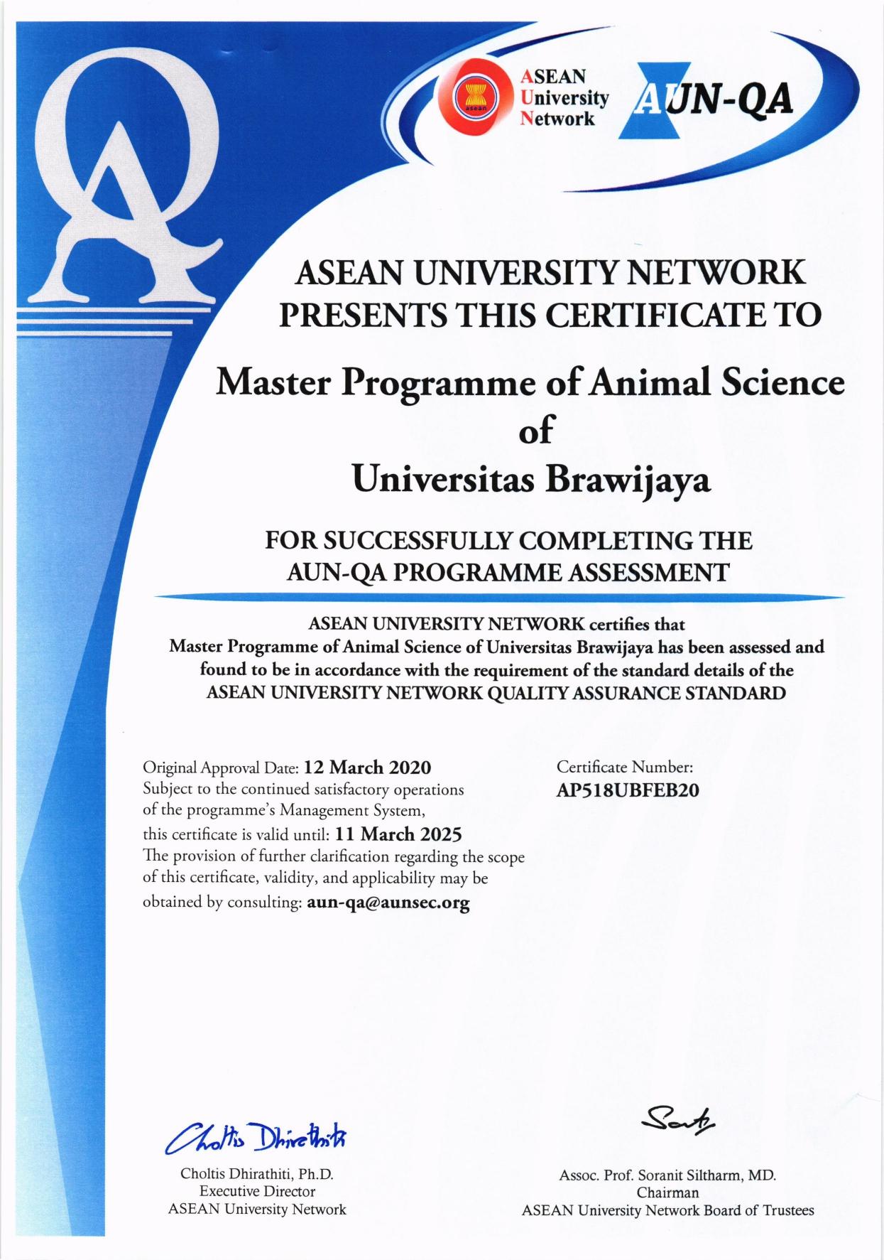 Program Magister Ilmu Ternak Peroleh Sertifikasi AUN QA