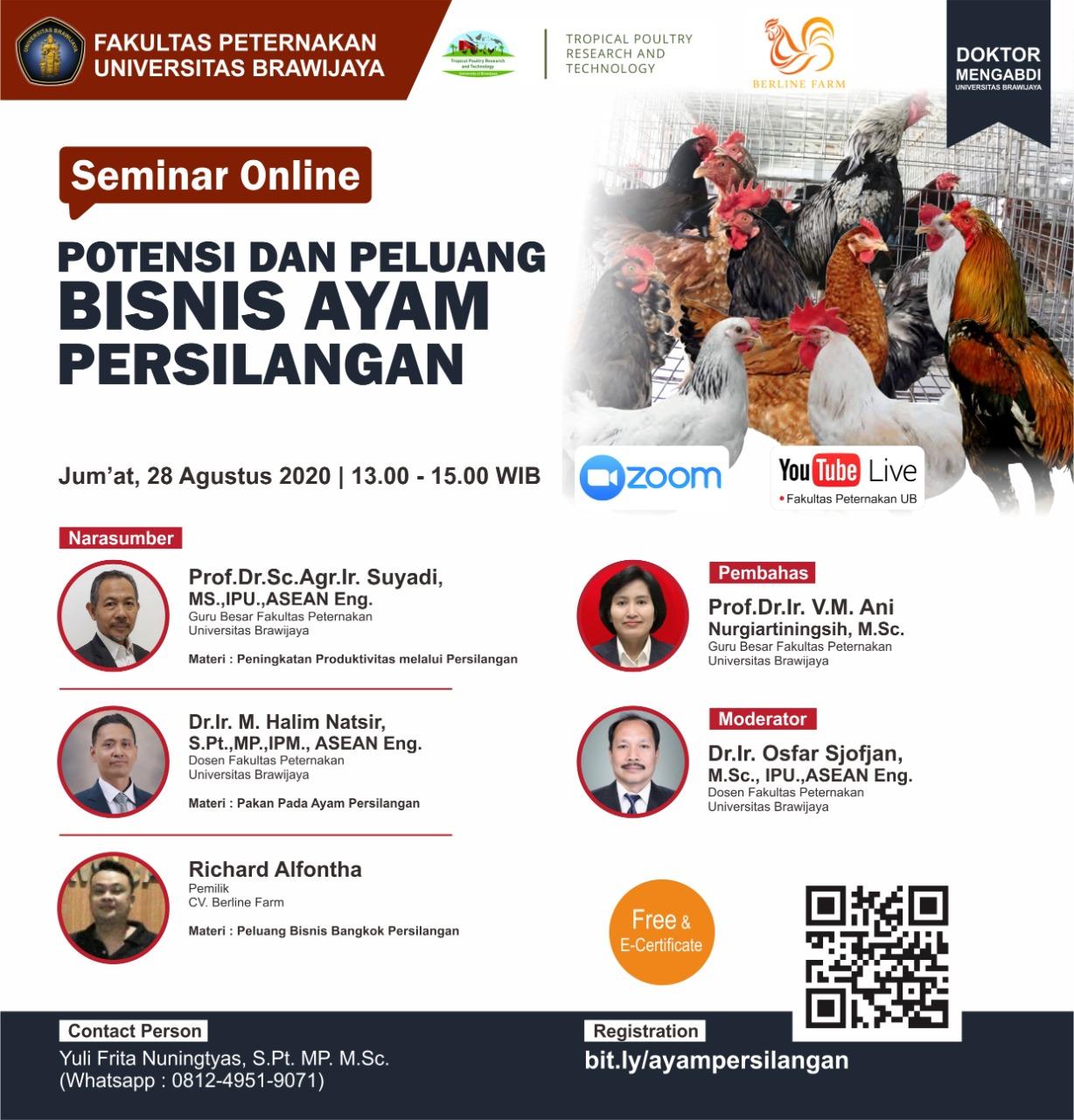 Seminar Online Potensi Peluang Bisnis Ayam Persilangan Fakultas Peternakan Universitar Brawijaya