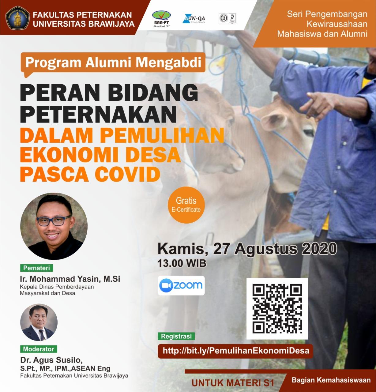 Seminar Online Peran Bidang Peternakan dalam Pemulihan Ekonomi Desa Pasca Covid