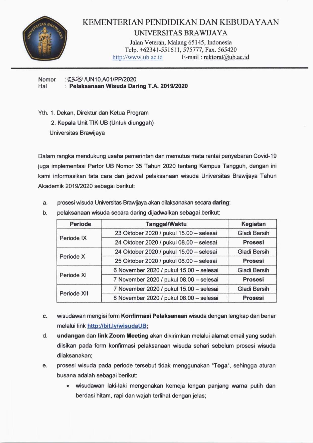 Pelaksanaan Wisuda Daring TA. 2019/2020