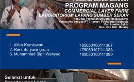 Pengumuman Peserta Lolos Seleksi Program Magang Commercial Layer Farm Kerjasama Fakultas Peternakan UB dengan PT. Charoen Pokphand Indonesia