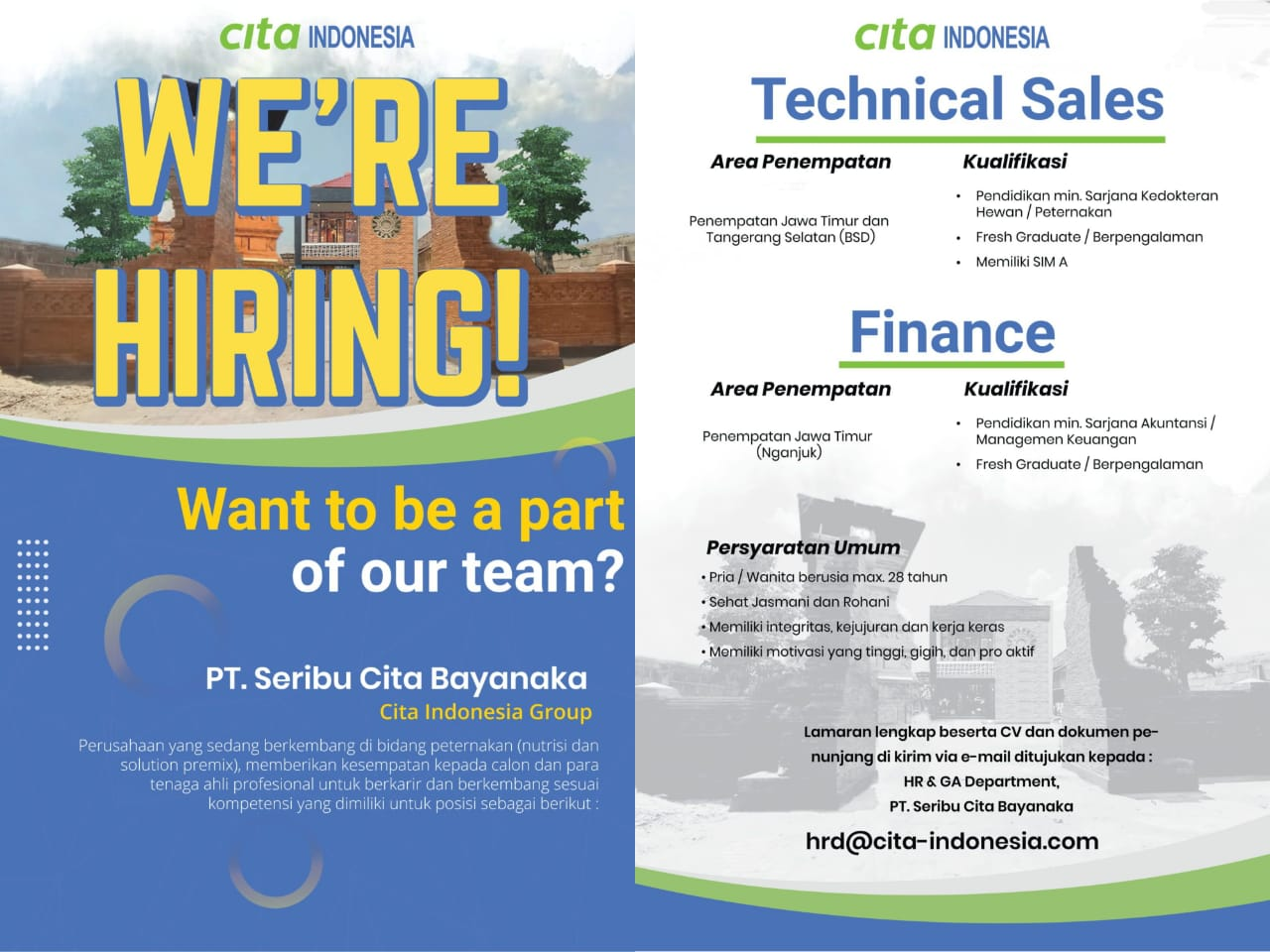 Job Vacancy at PT. Seribu Cita Bayanaka