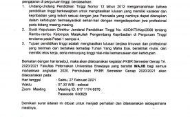 Surat Edaran Pelaksanaan PKBR Semester Genap 2020/2021