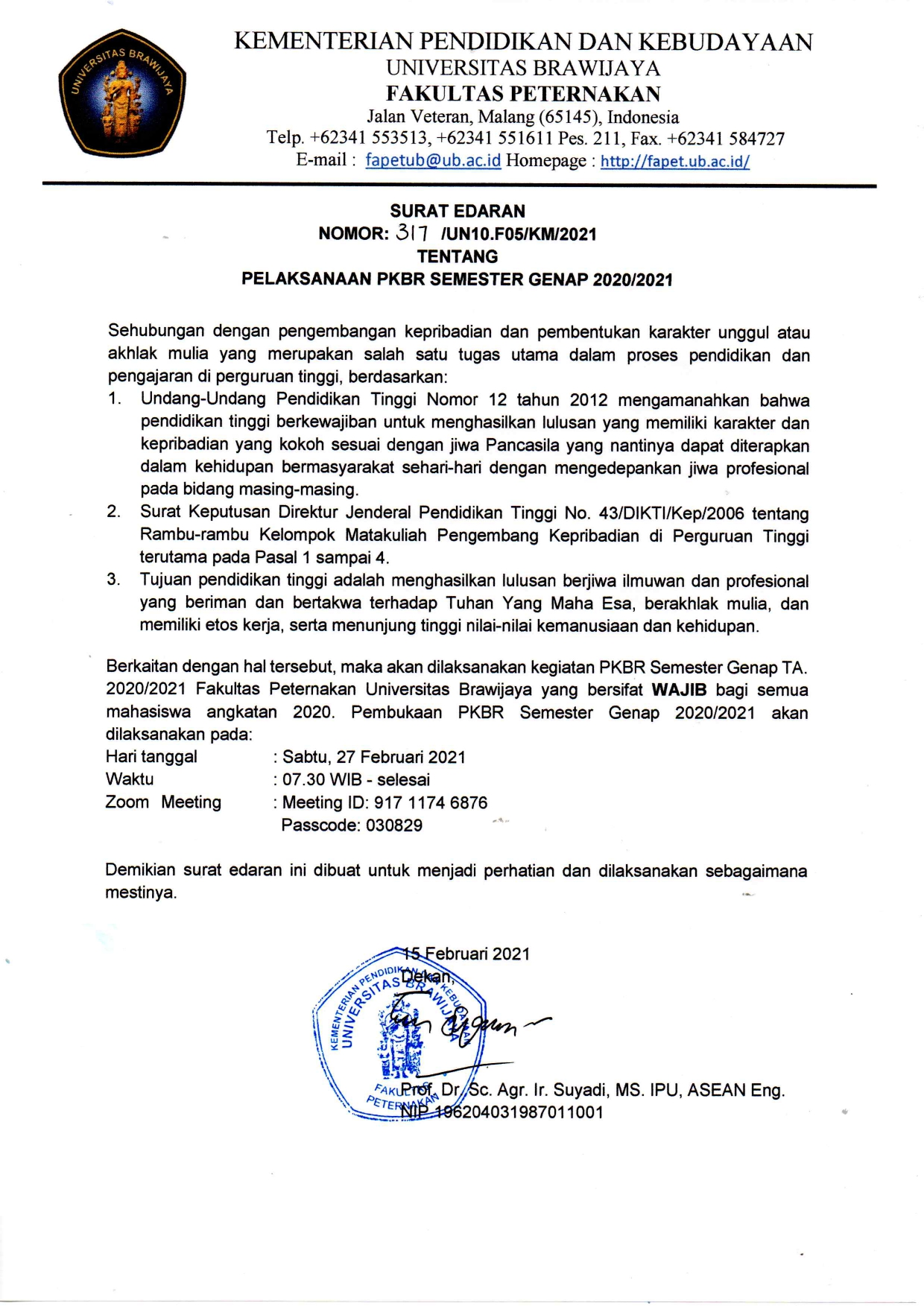 The Circular for the Implementation of the PKBR Even Semester 2020/2021
