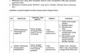 (Indonesia) Pelaksanaan Ordik Maba Program Pascasarjana Fapet UB TA. 2021/2022